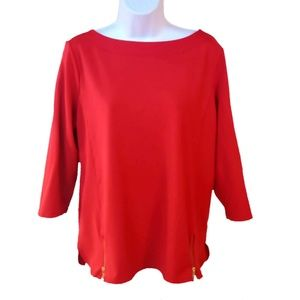 Chico's Blouse Red 3/4 Sleeve Stretch Zipper EUC